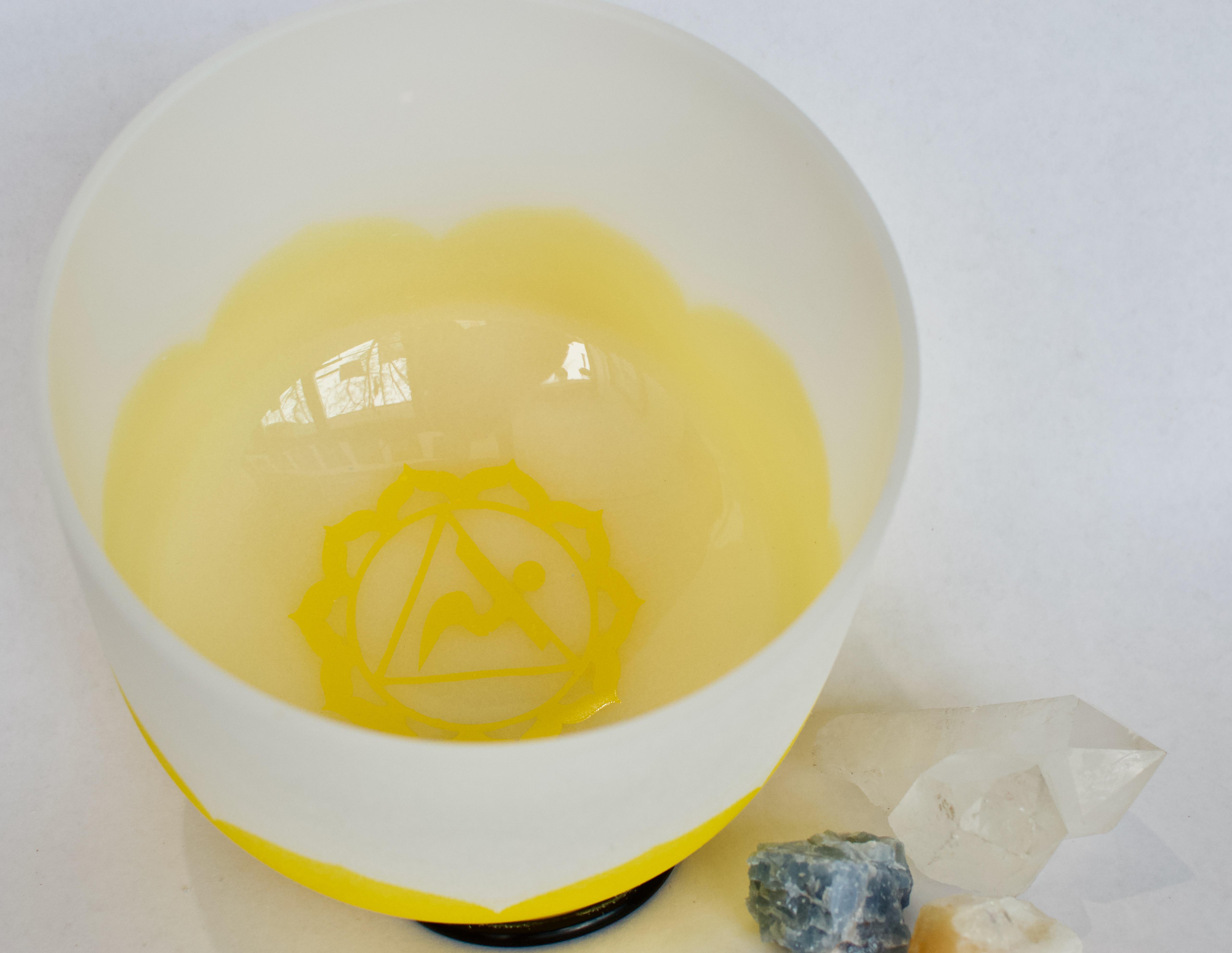 Frosted Quartz Crystal Singing Bowl - Solar Plexus