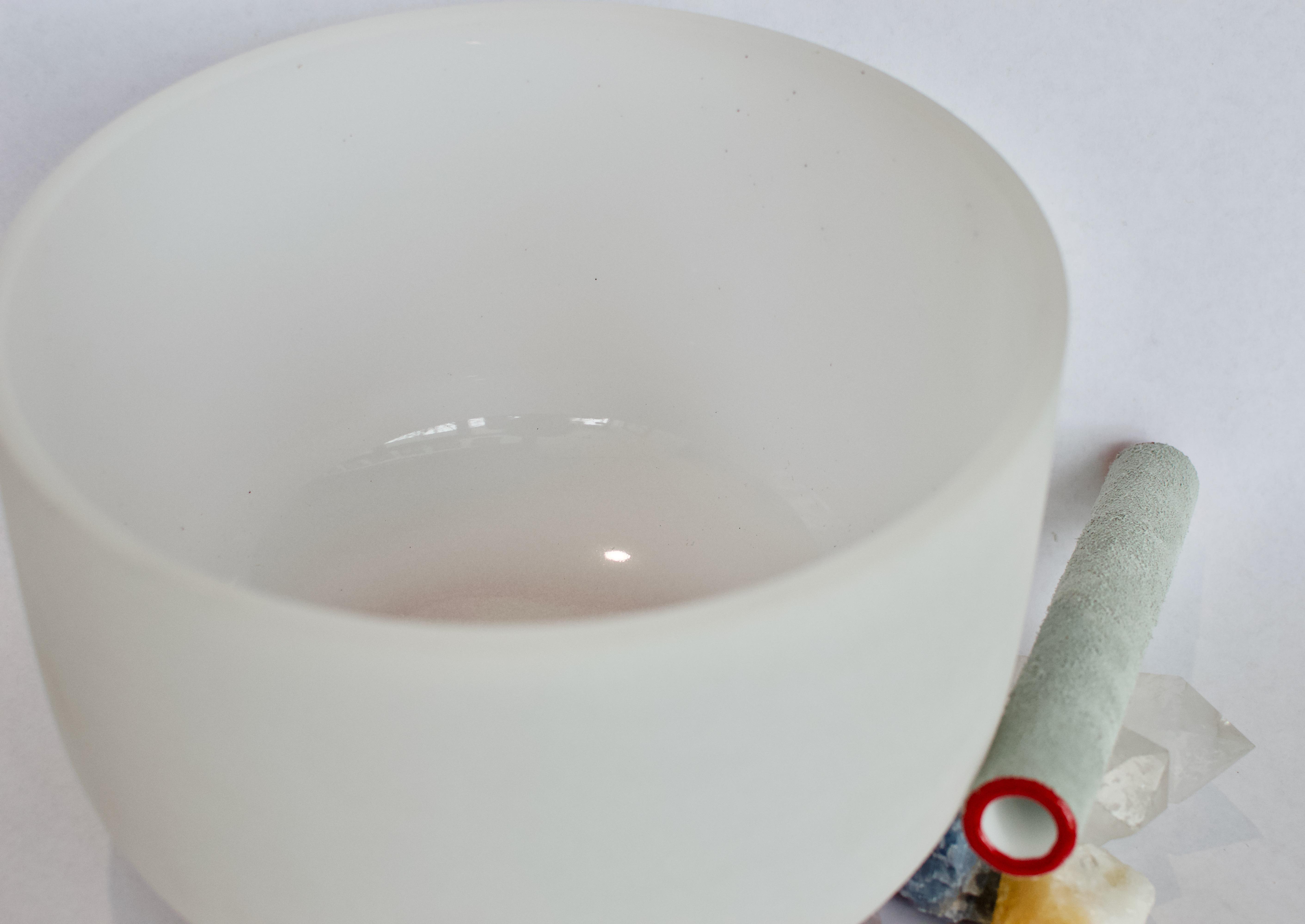 Frosted Quartz Crystal Singing Bowl : G Throat Chakra